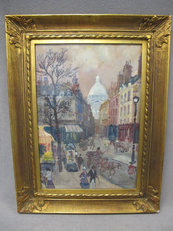 Antique French watercolor, Henry Granier