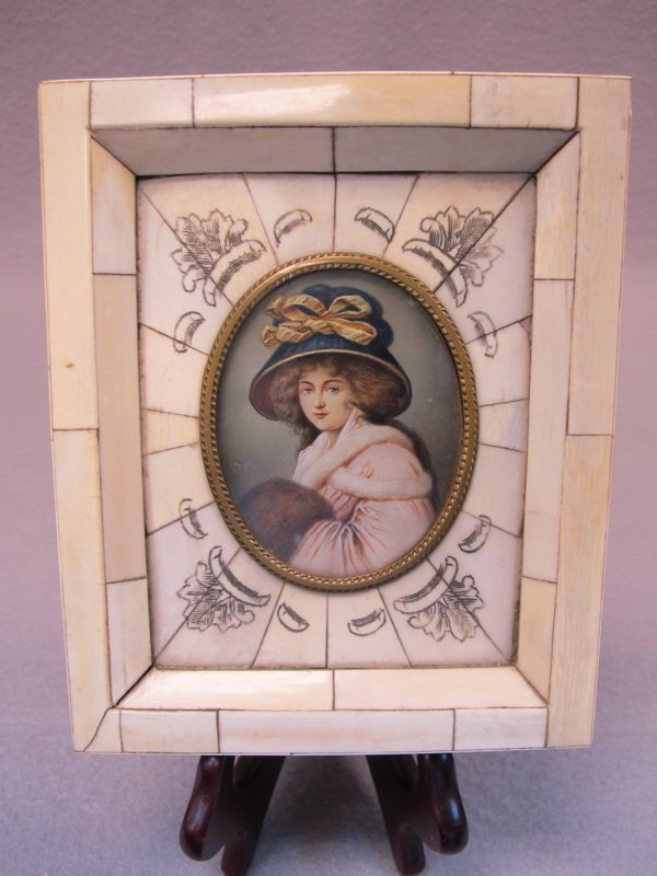 Antique miniature painting with an ivory frame