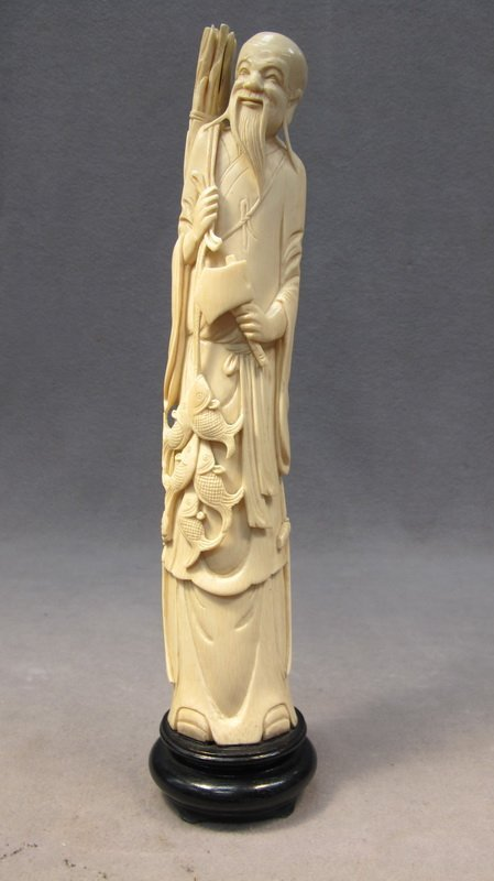 Chinese Carved Ivory Fisherman Statue