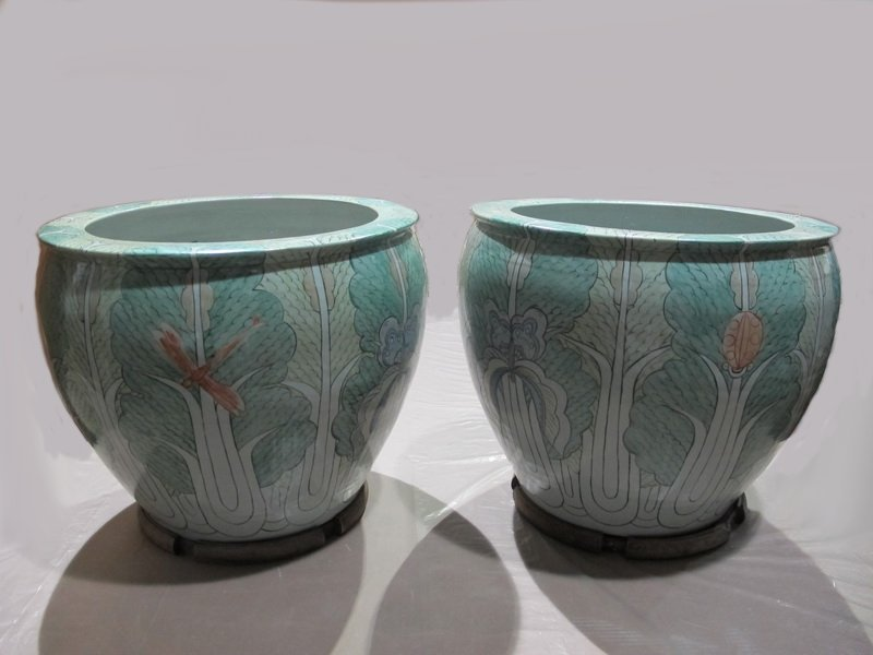 Chinese pair of large porcelain planters