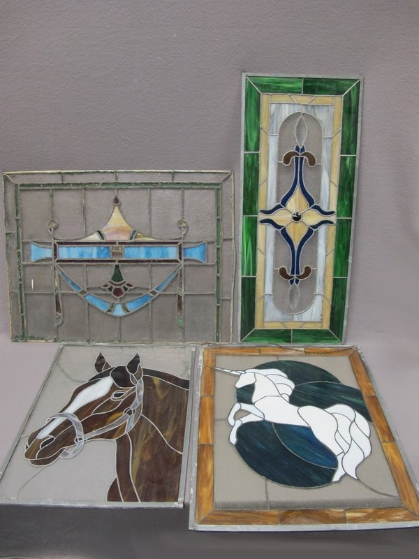 Old set of 4 stained glass panels