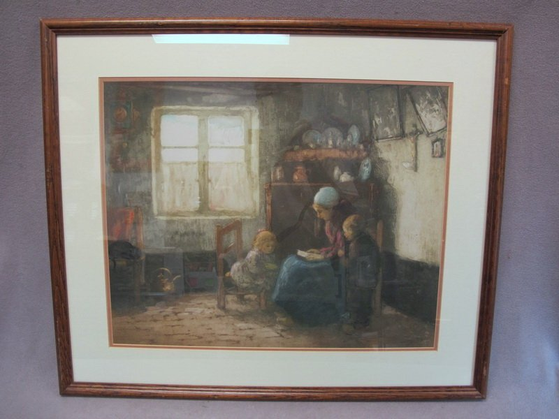 Old French framed engraving