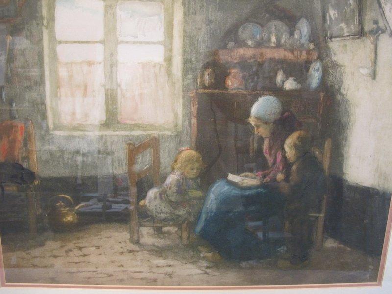 Old French framed engraving - 2
