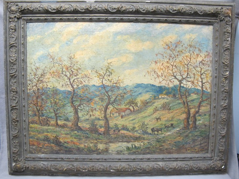 Old large oil on canvas lanscape painting