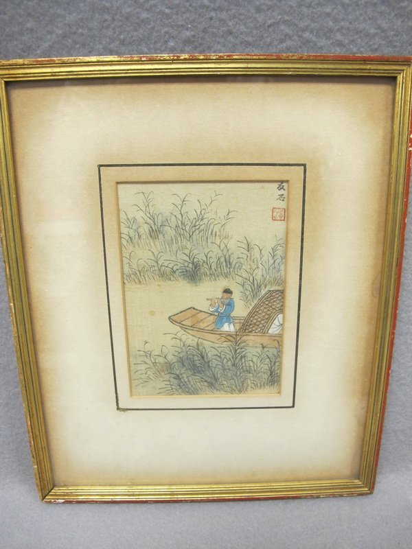 Old Japanese framed drawing on fabric