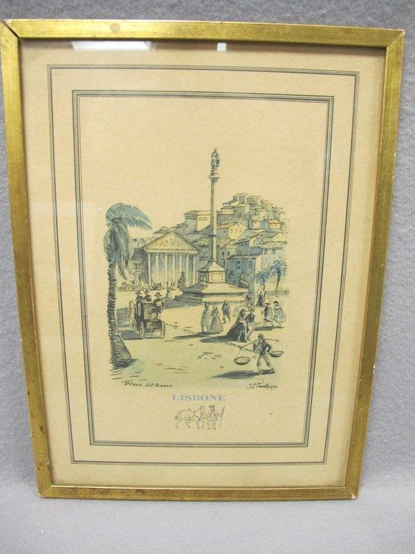 Old Portuguese cityscape framed print