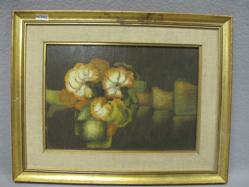 Oil on board flowers painting