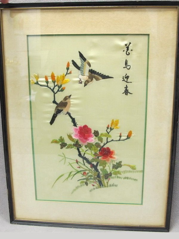 Chinese birds framed embroidery on silk