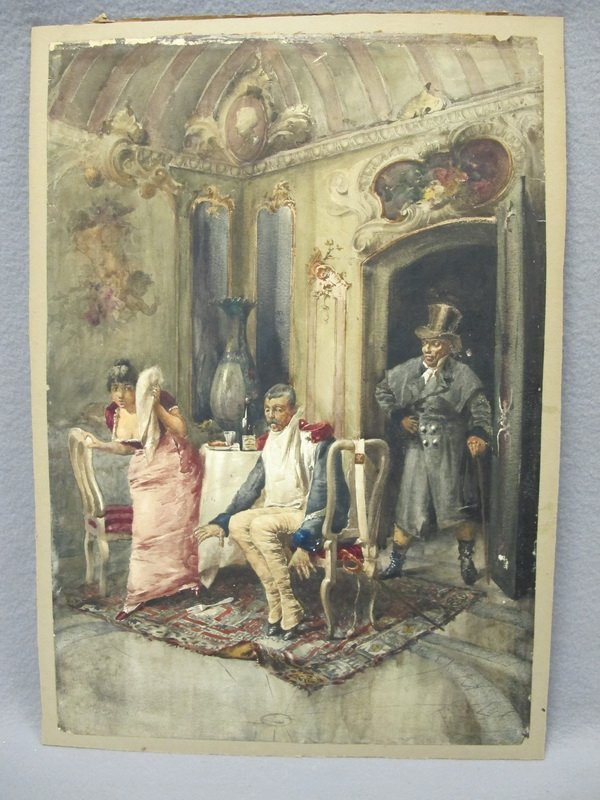 Antique interior watercolor, signed F D