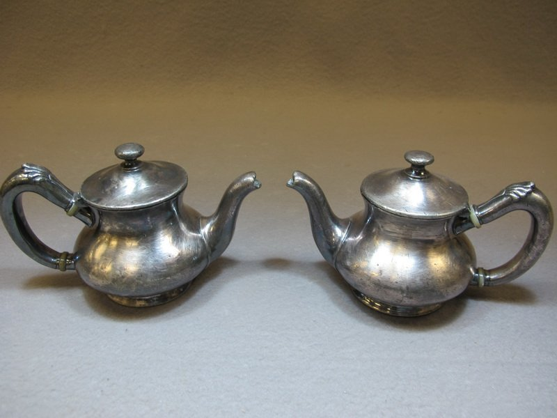 Pair of Reed & Barton silverplated small coffeepot