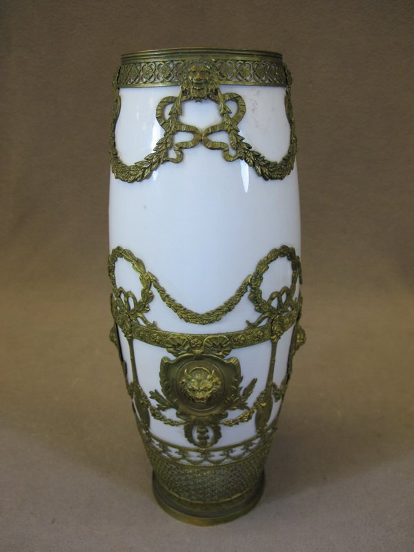 Antique French porcelain & bronze vase