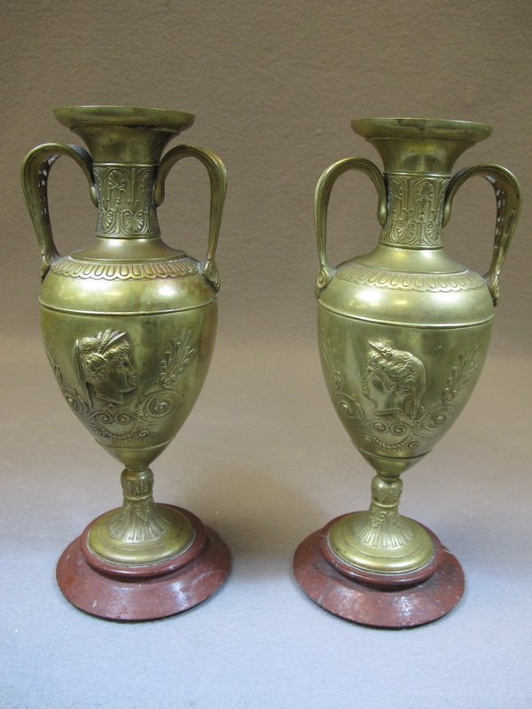 Old French pair of bronze urns