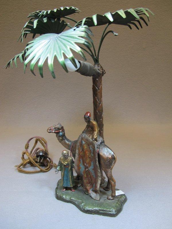 Antique Orientalist spelter lamp