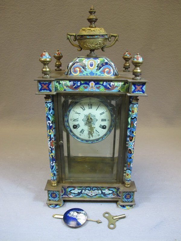 Antique French bronze champleve clock