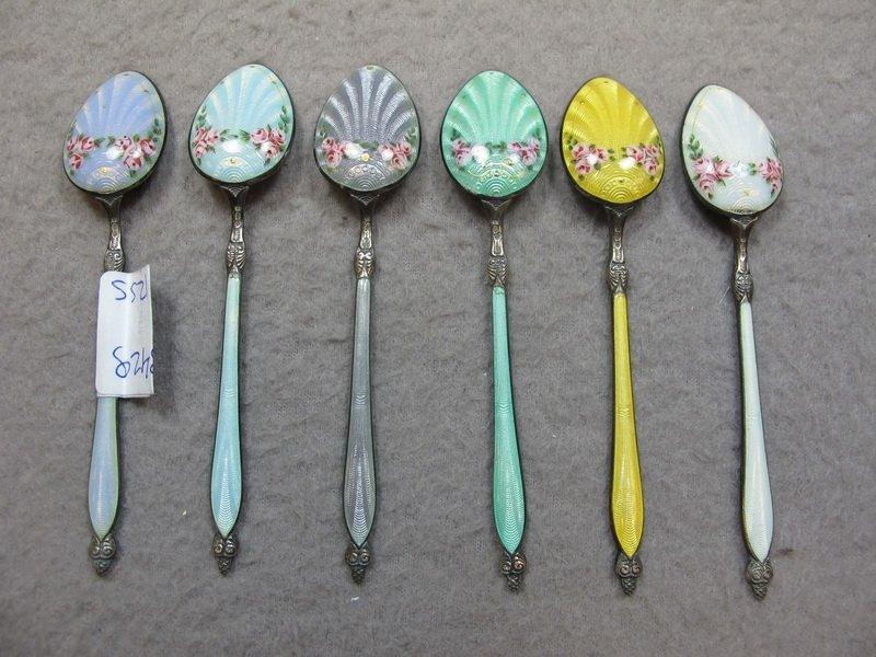 Set of 6 sterling 925 & enamel spoons