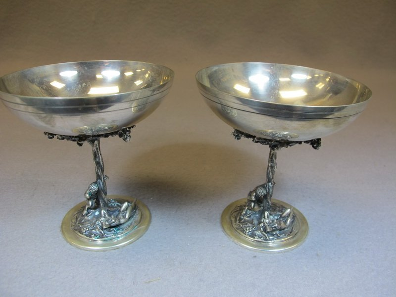 Old pair of 800 Silver Erotic European cups