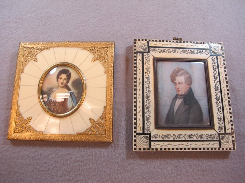 Old pair of ivory & bronze framed paintings