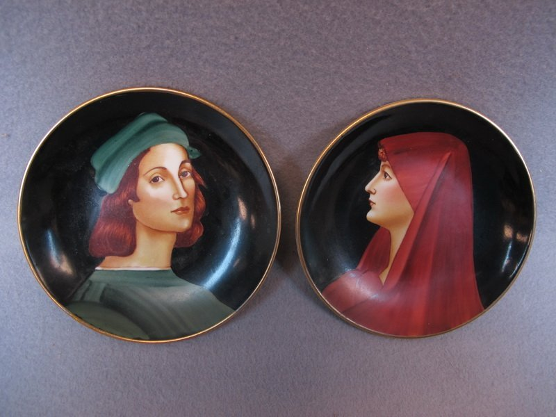 Old pair of Italian Raffaello & Fabiola plates