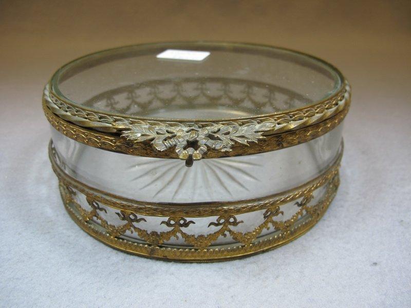 Baccarat style French bronze & glass box