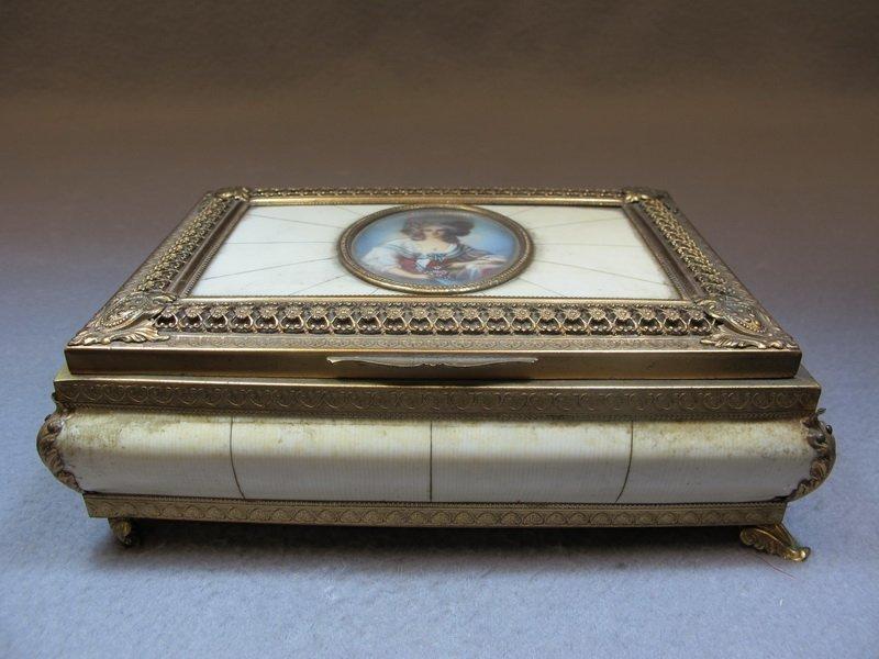 Old French brass & bakelite music box