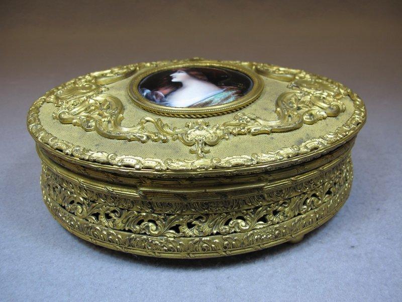 Antique French Limoges bronze & enamel box
