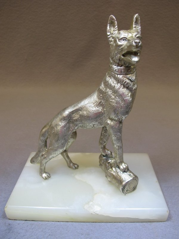 Old French silverplate bronze dog statue