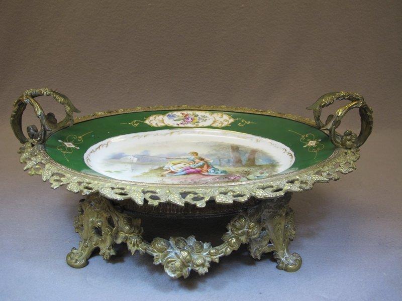 Antique Sevres porcelain & bronze tray