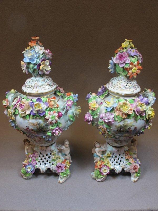 German Dresden pair of porcelain urns