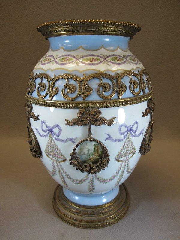 Antique large Sevres porcelain & bronze vase