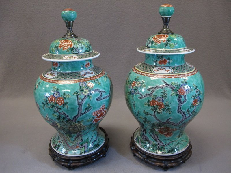 Chinese pair of porcelain lided urns