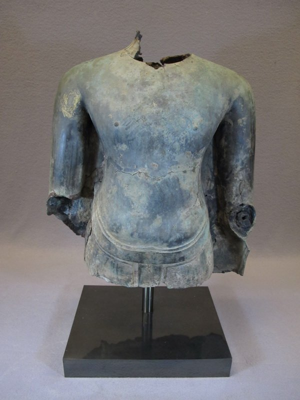 Antique 15th C. Oriental bronze torso with a stand