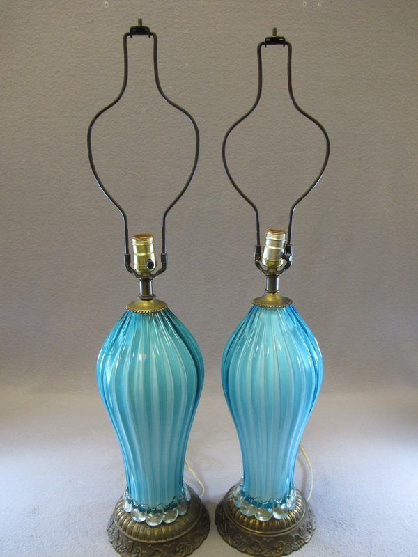 Old pair of murano table lamps