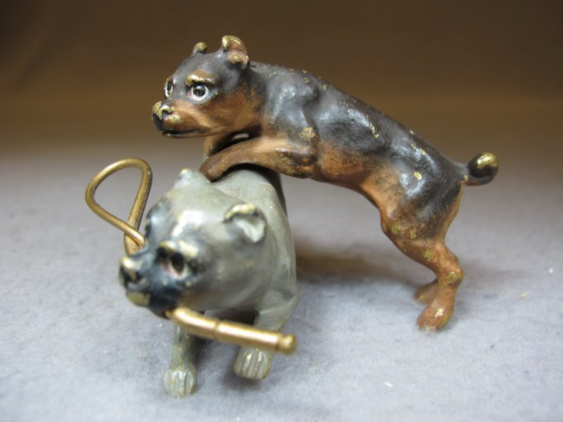 Vienna bronze set of 2 dogs playing sculpture