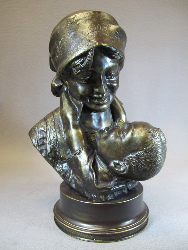 Old French bronze sculpture, Maternity