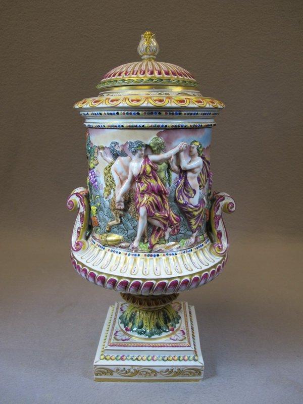 Antique Capodimonti porcelain lided urn