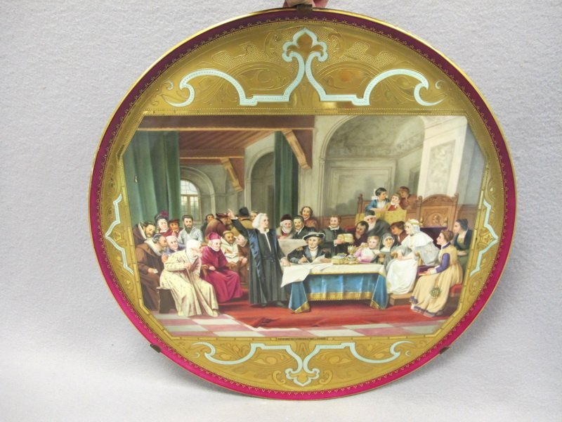 Antique Vienna large porcelain plate