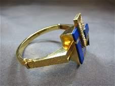Bracelet, 18 k gold, lapislazuli & diamond, 52 grams