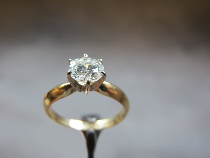 Ring, 14 k gold, 0.89 ct diamond, H color - SI2, 4