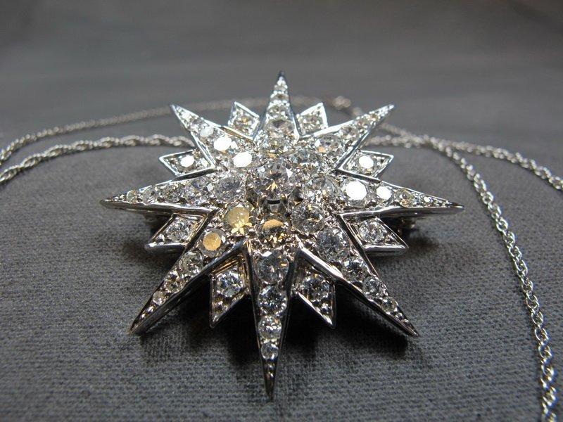 Necklace & star, 14 k gold, diamonds, 14 gms