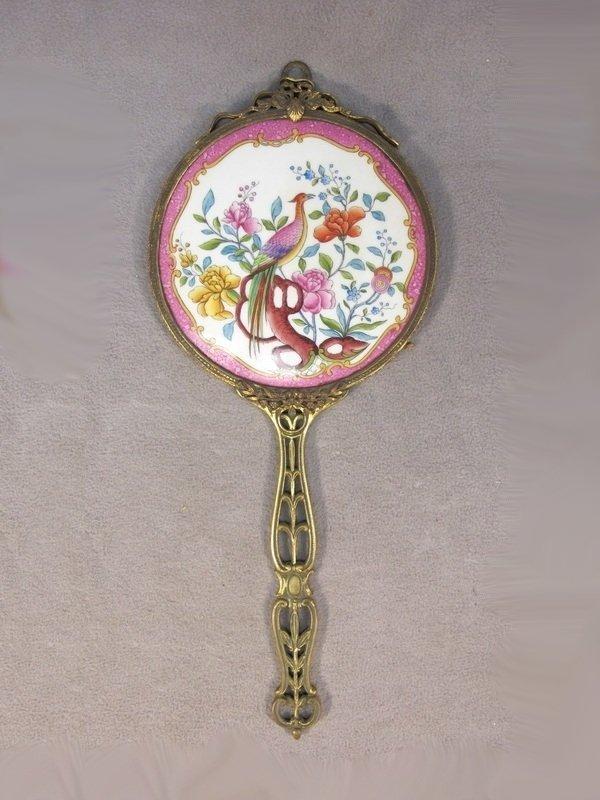 European bronze & porcelain mirror