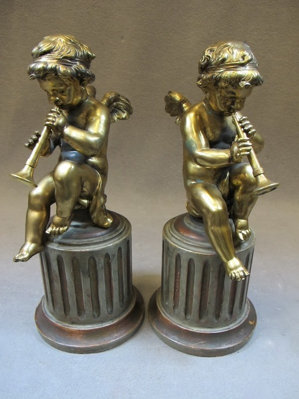 French pair of bronze & wood angels statues