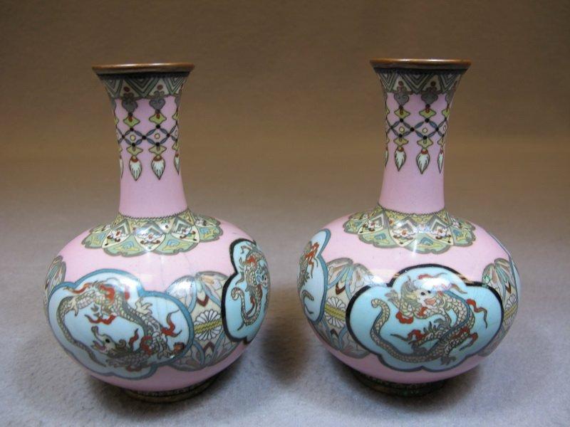 Antique pair of Chinese cloisonet vases