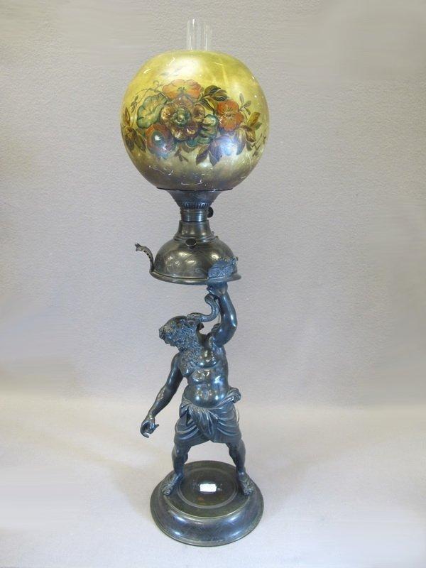 Antique bronze & glass oil lamp