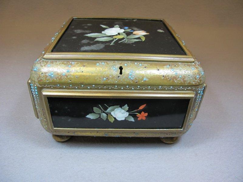 Antique bronze, rubi, porcelain & turquoise box