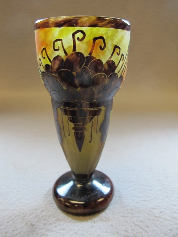 Antique French Le Verre Art Deco glass vase