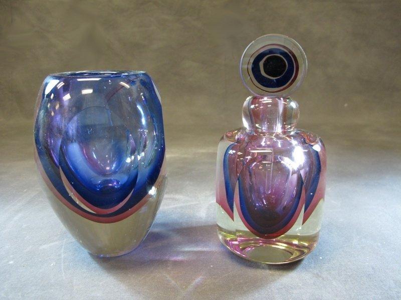 Old pair of crystal vase & perfum bottle