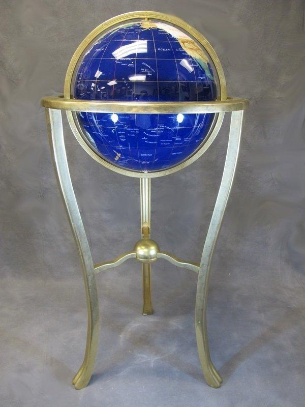 Handcraft bronze & stones terrestrial globe
