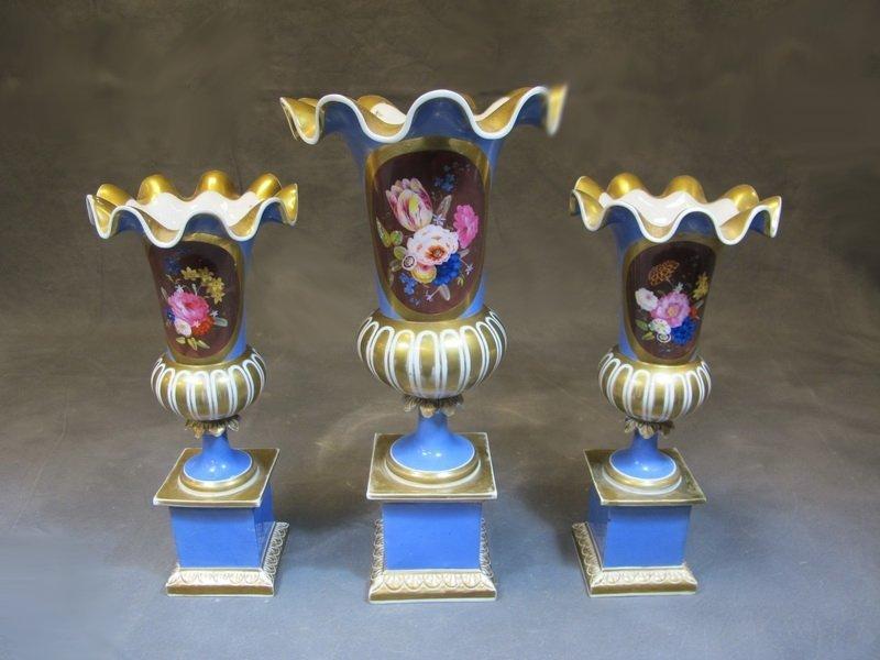 Antique English set of 3 porcelain urns