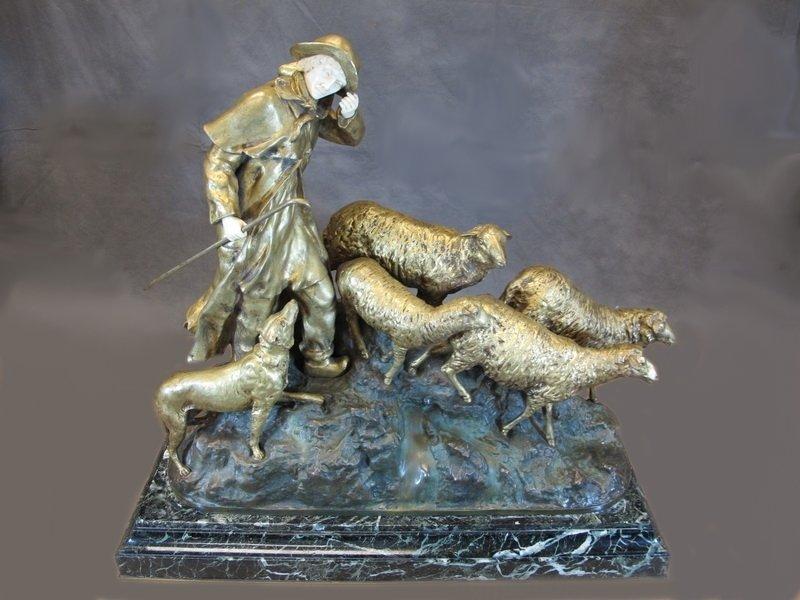 Rene Paul MARQUET (1875-?) bronze & ivory sculpture