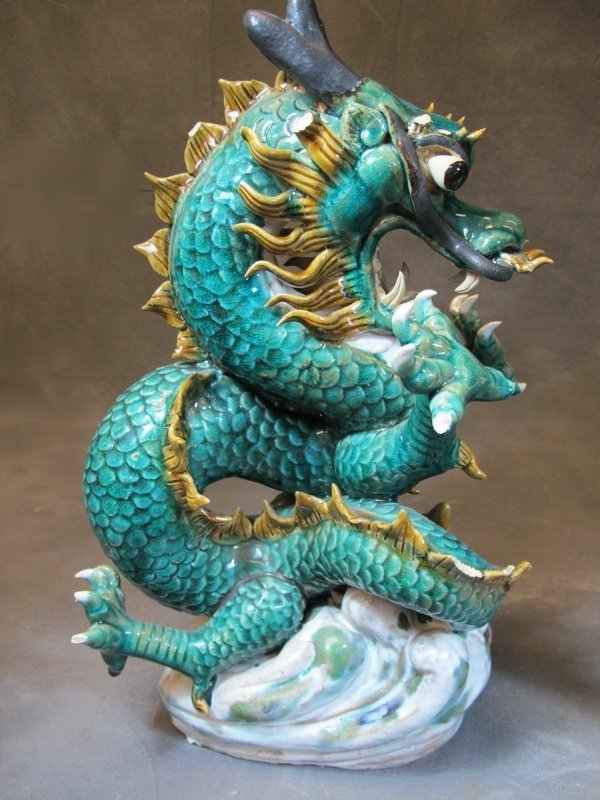Old Chinese pair of ceramic dragon statues - 2